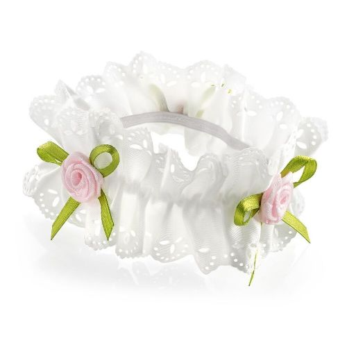 Pink Rosebud Ribbon Hair Bun Garland Scrunchie Bobble